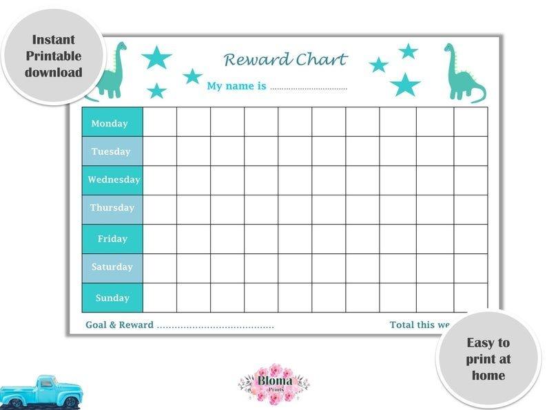 reward chart dinosaurs printable childrenkids reward chart download behaviour chart digital::Reward Chart for Toddlers Printable
