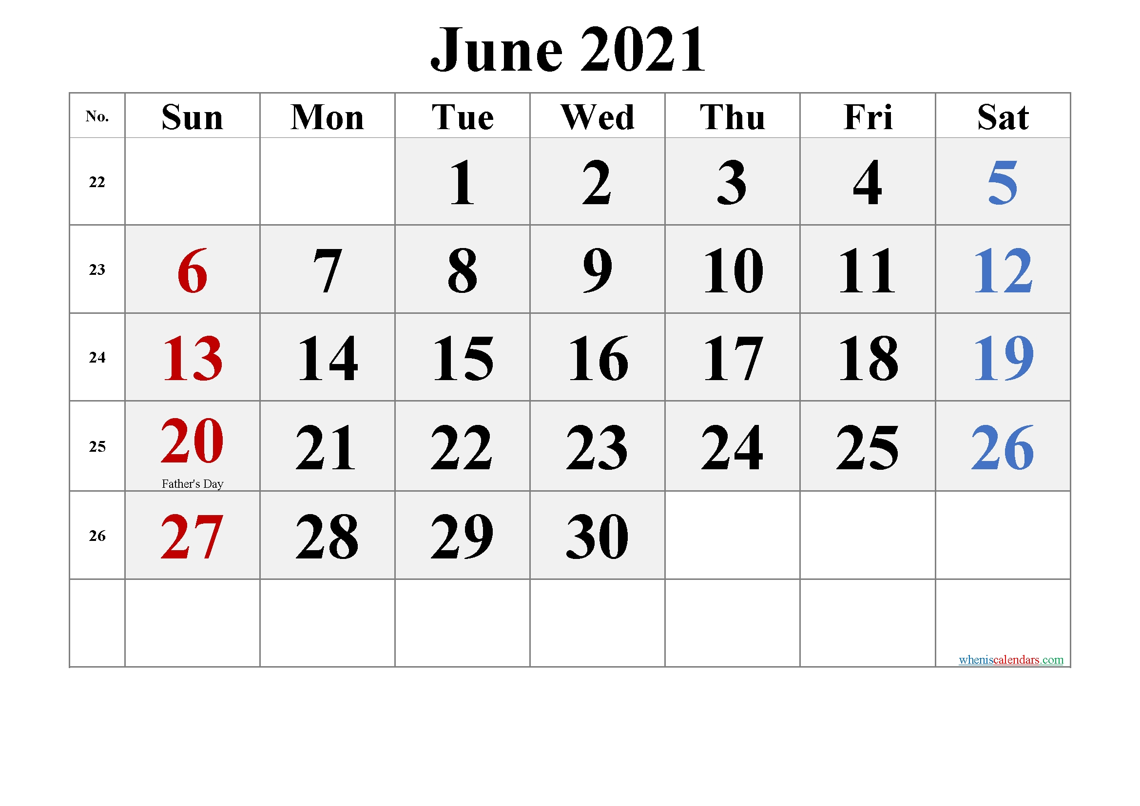 Simple Printable::June 2021 Calendar With Holiday