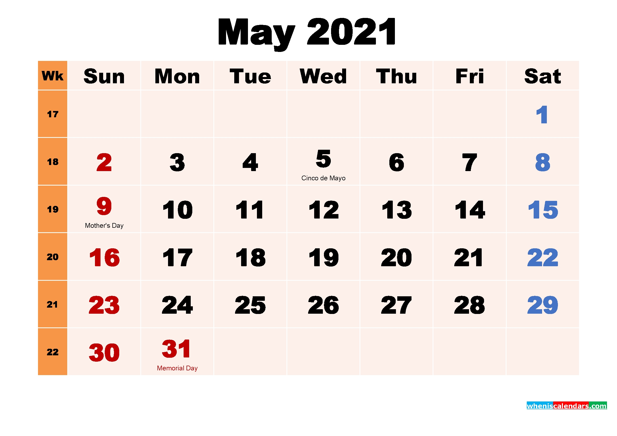 Simple::may 2021 calendar with holidays