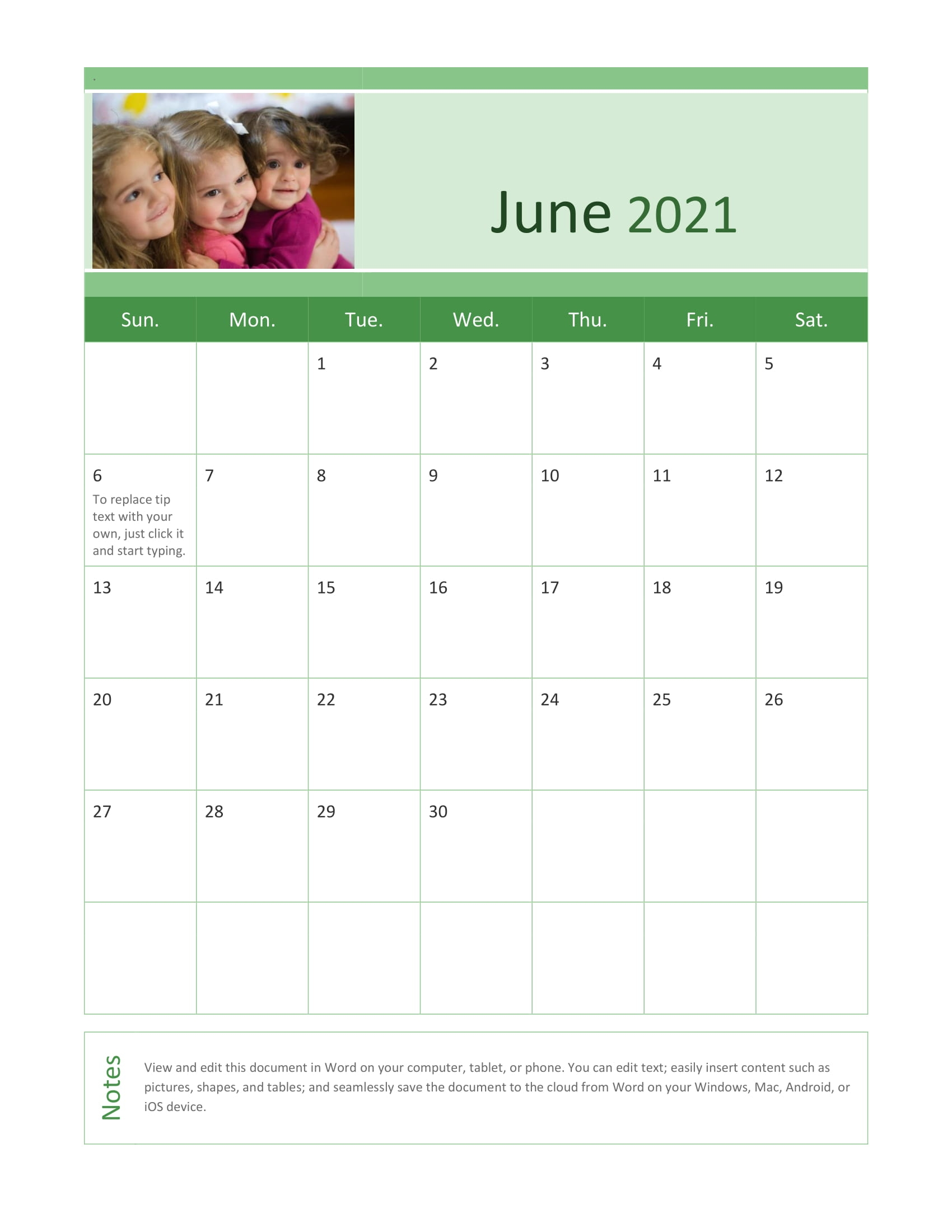 Super Cute::June 2021 Calendar With Holiday