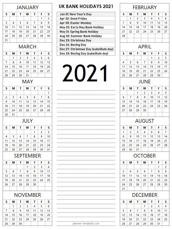 template school bank public::Calendar 2021 UK With Bank Holidays