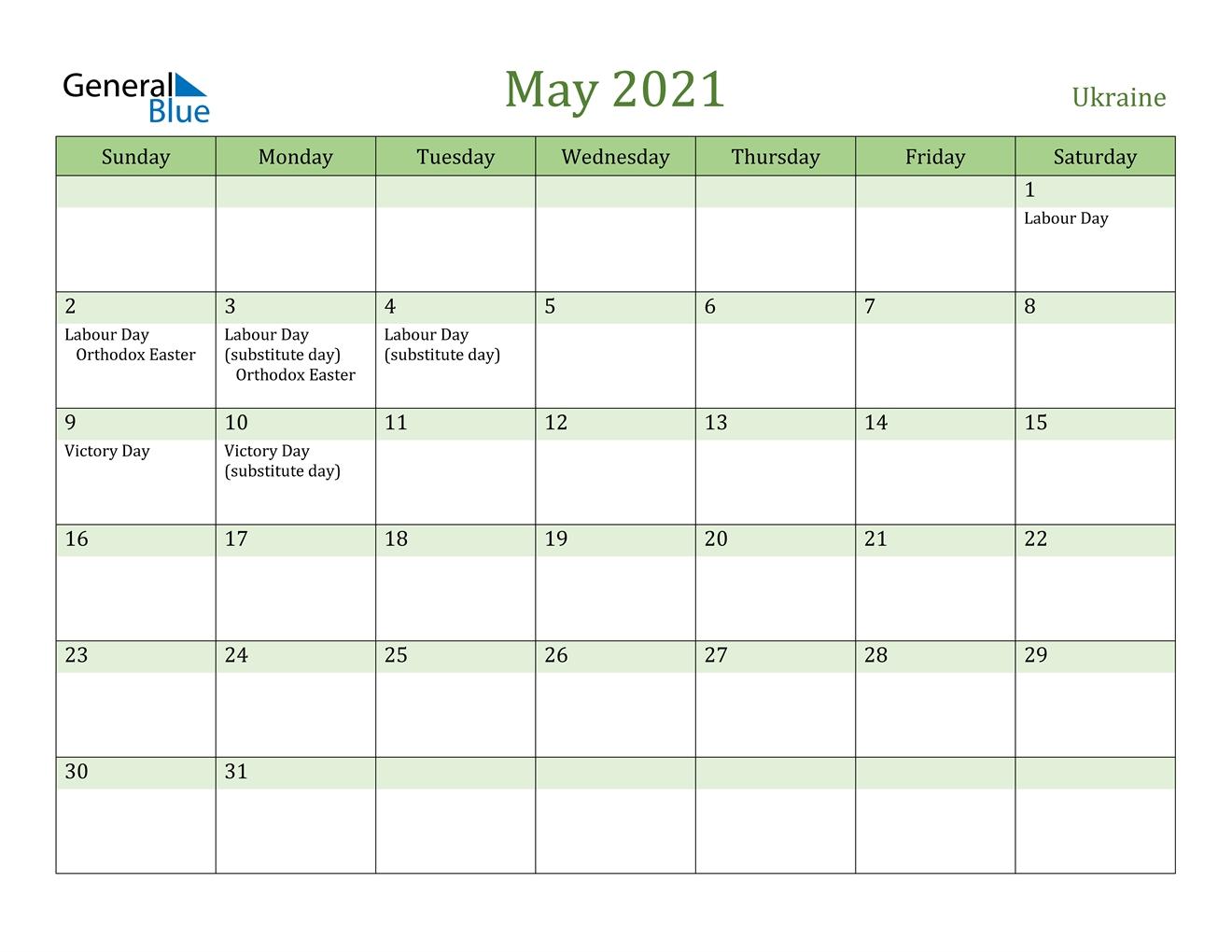 Ukraine ::may 2021 calendar with holidays