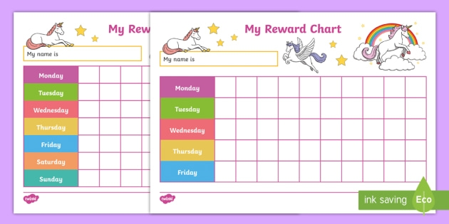 unicorn reward charts behavior chart for kids::Reward Chart For Kids Snoopy