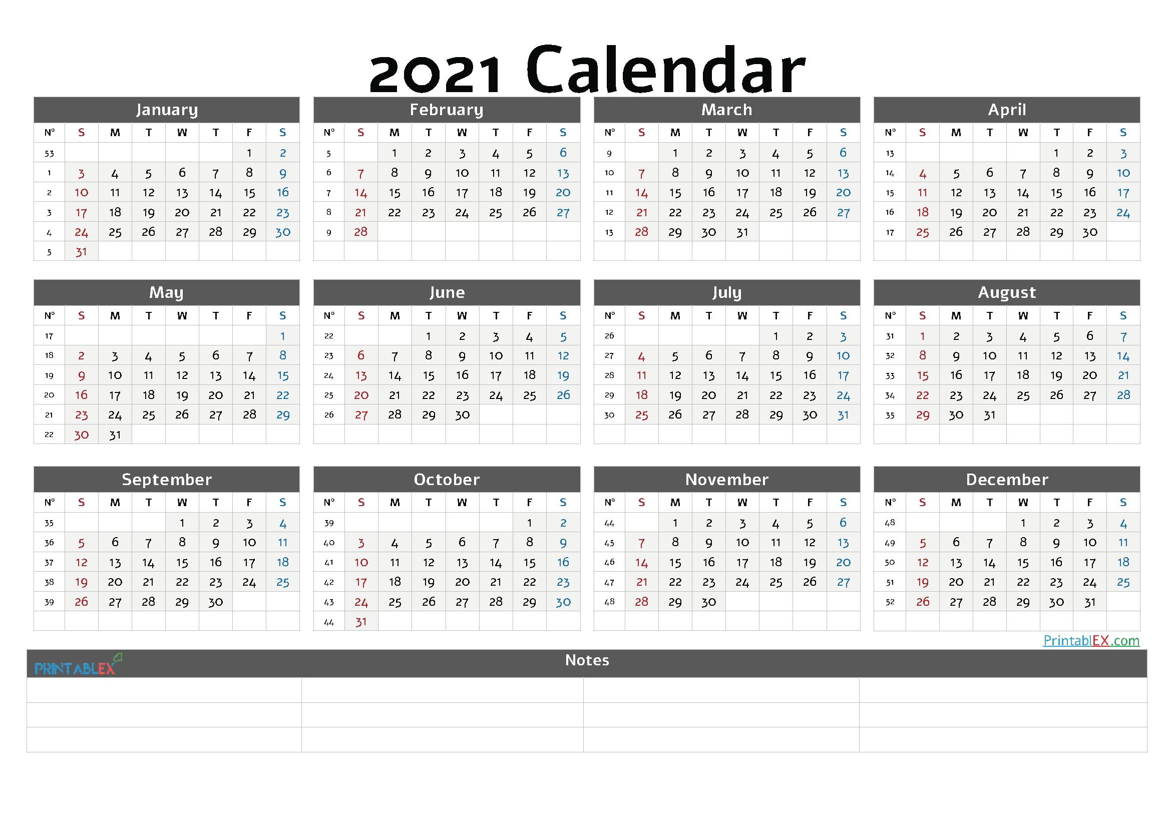 USA Calendar::Calendar 2021 Week Number