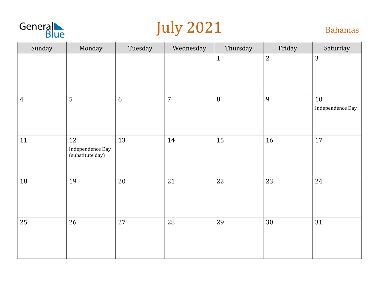 July 2021 Calendar With Holiday