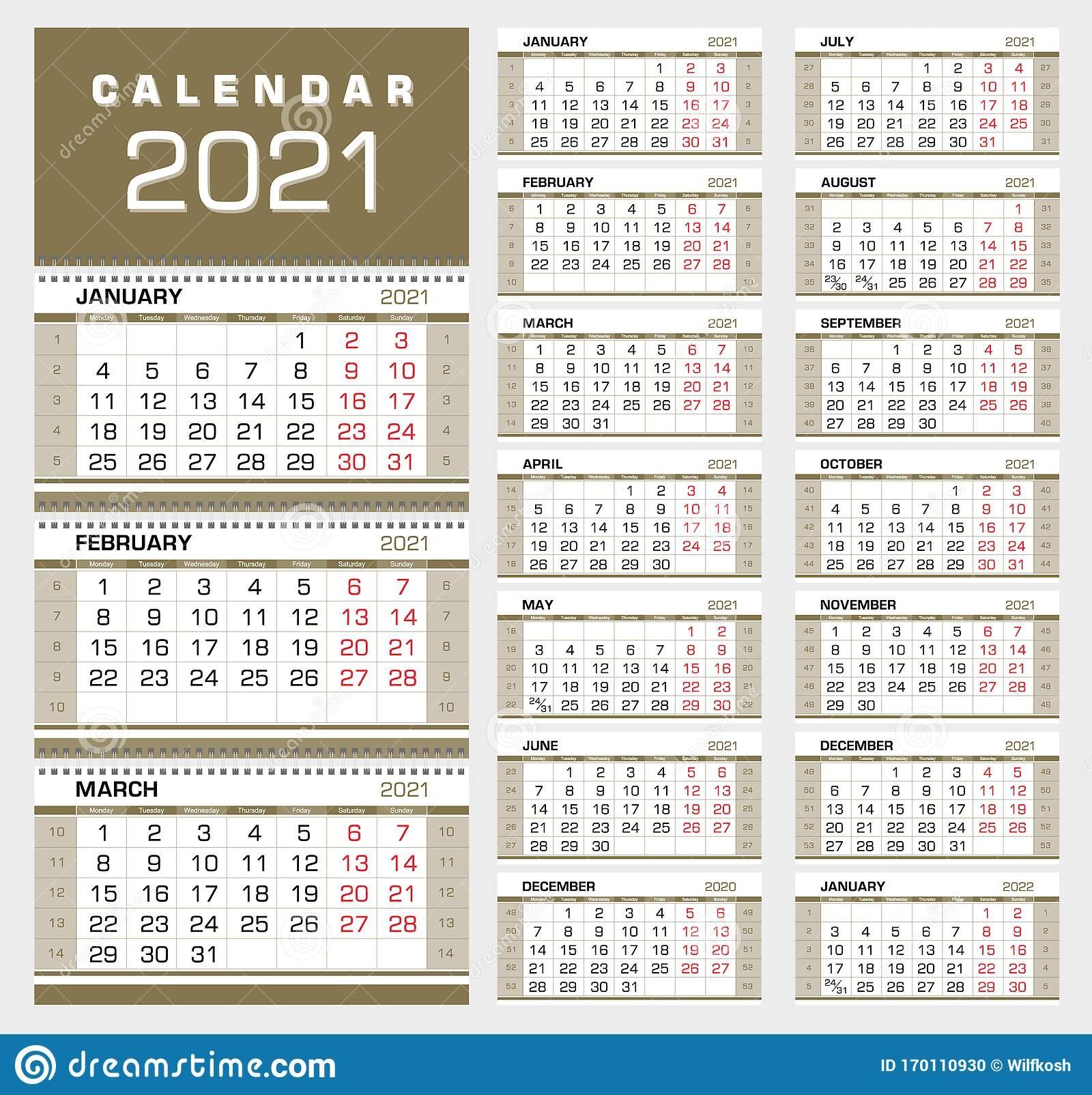 Wall Calendar::Calendar 2021 Week Number