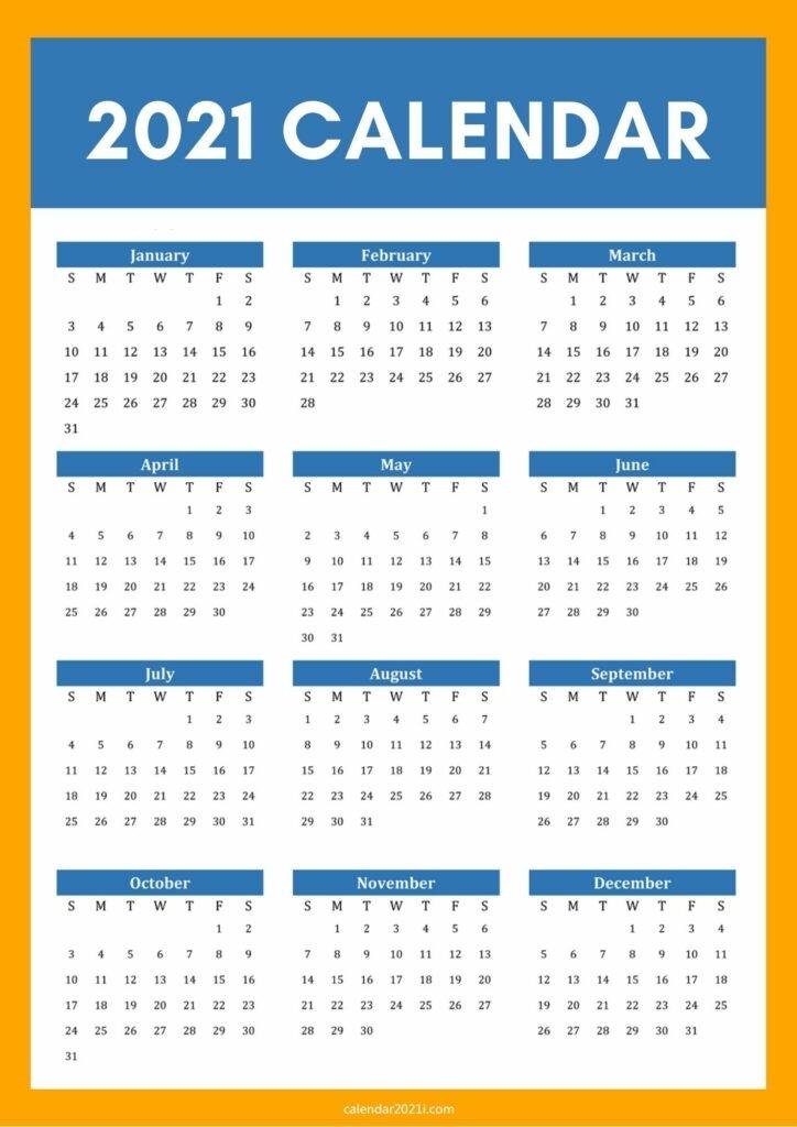 2021 calendar a4 size printable free download::Download 2021 Printable Calendar