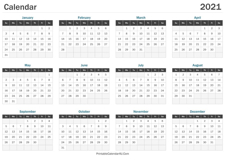 Printable 2021 Calendar By Week