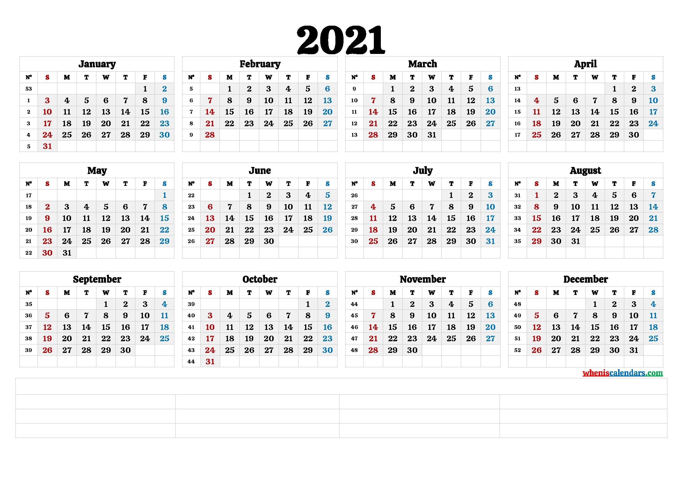 2021 free printable yearly calendar with week numbers 6 templates::Printable 2021 Calendar By Week