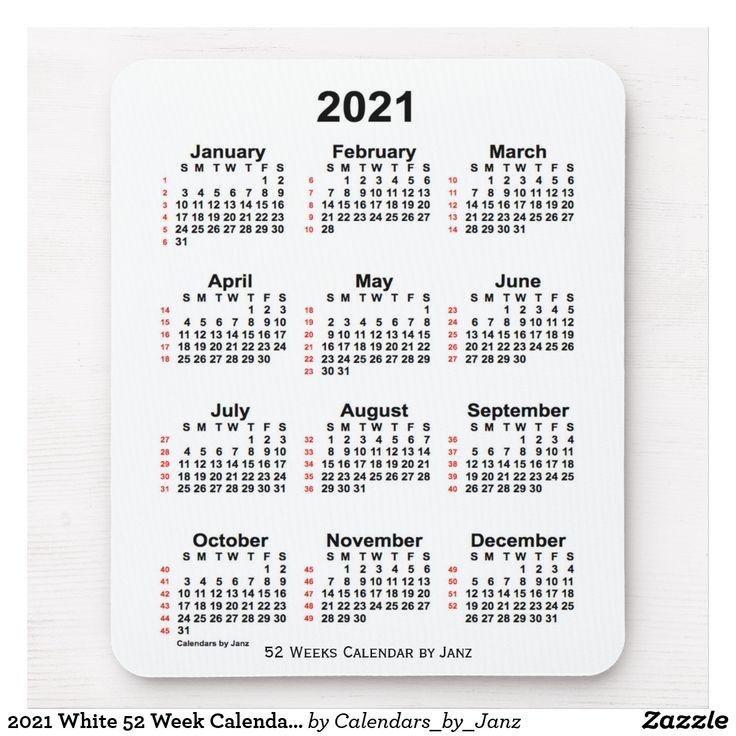2021 white 52 week calendar janz mouse pad zazzle print calendar rainbow cloud::Printable 2021 Calendar By Week