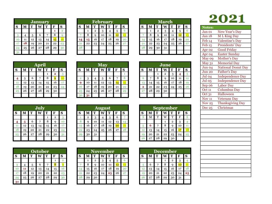2021 yearly calendar printable calendar 2021::Printable 2021 Calendar By Week