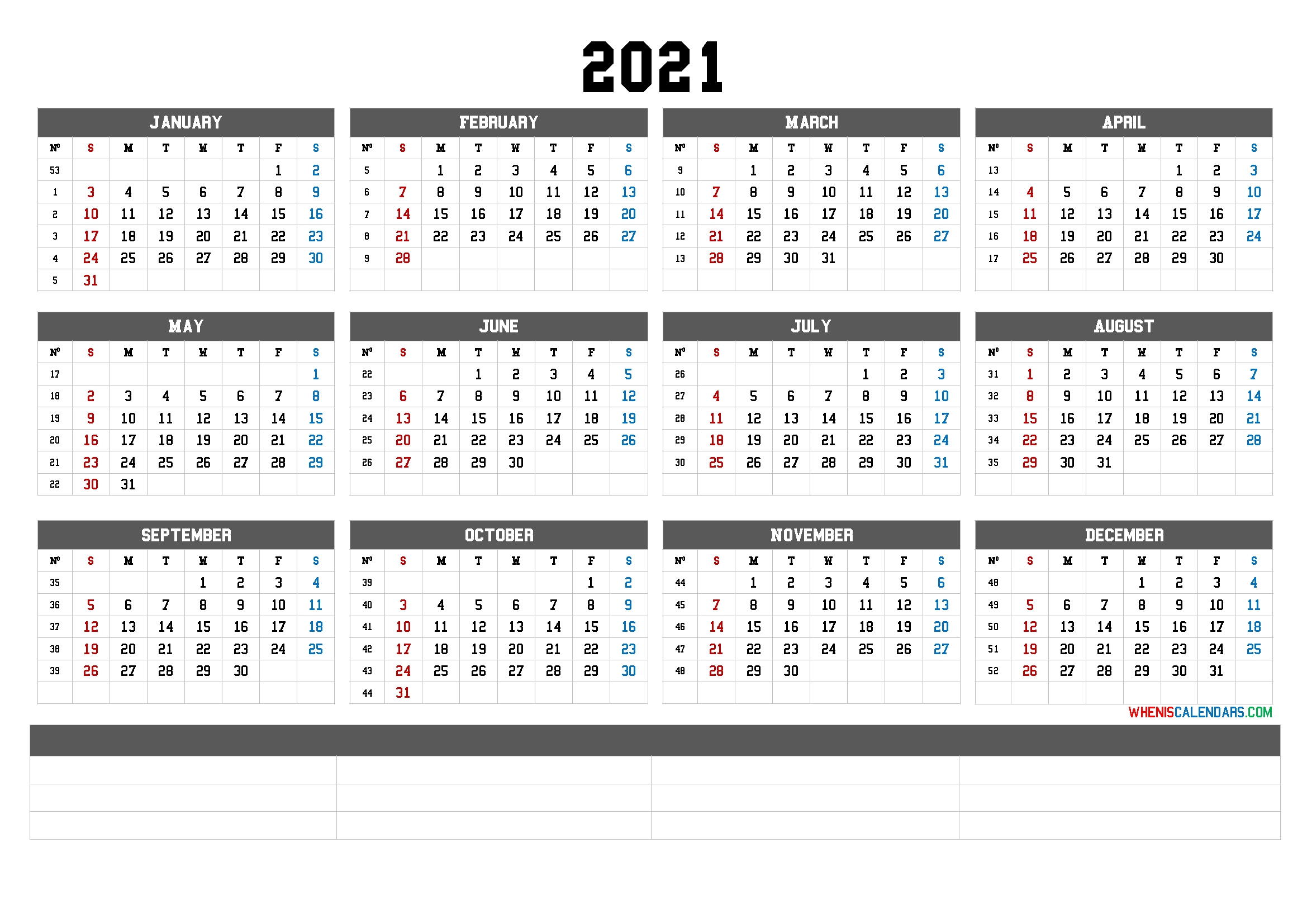 2021 yearly calendar template word 6 templates::Printable 2021 Calendar By Week