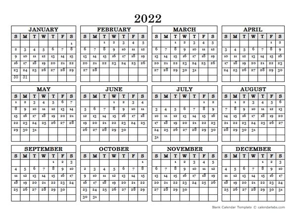 2022 blank yearly calendar landscape free printable templates::Download 2022 Printable Calendar
