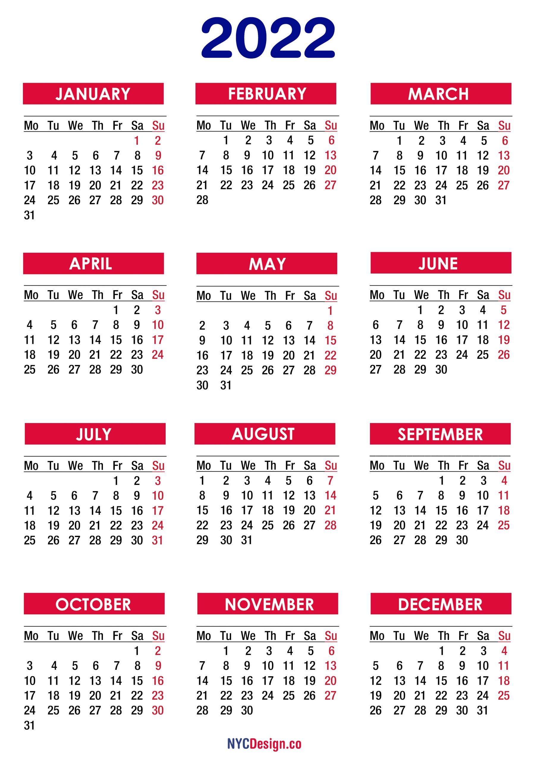 2022 calendar printable free pdf colorful monday start nycdesignco calendars printable free::Download 2022 Printable Calendar