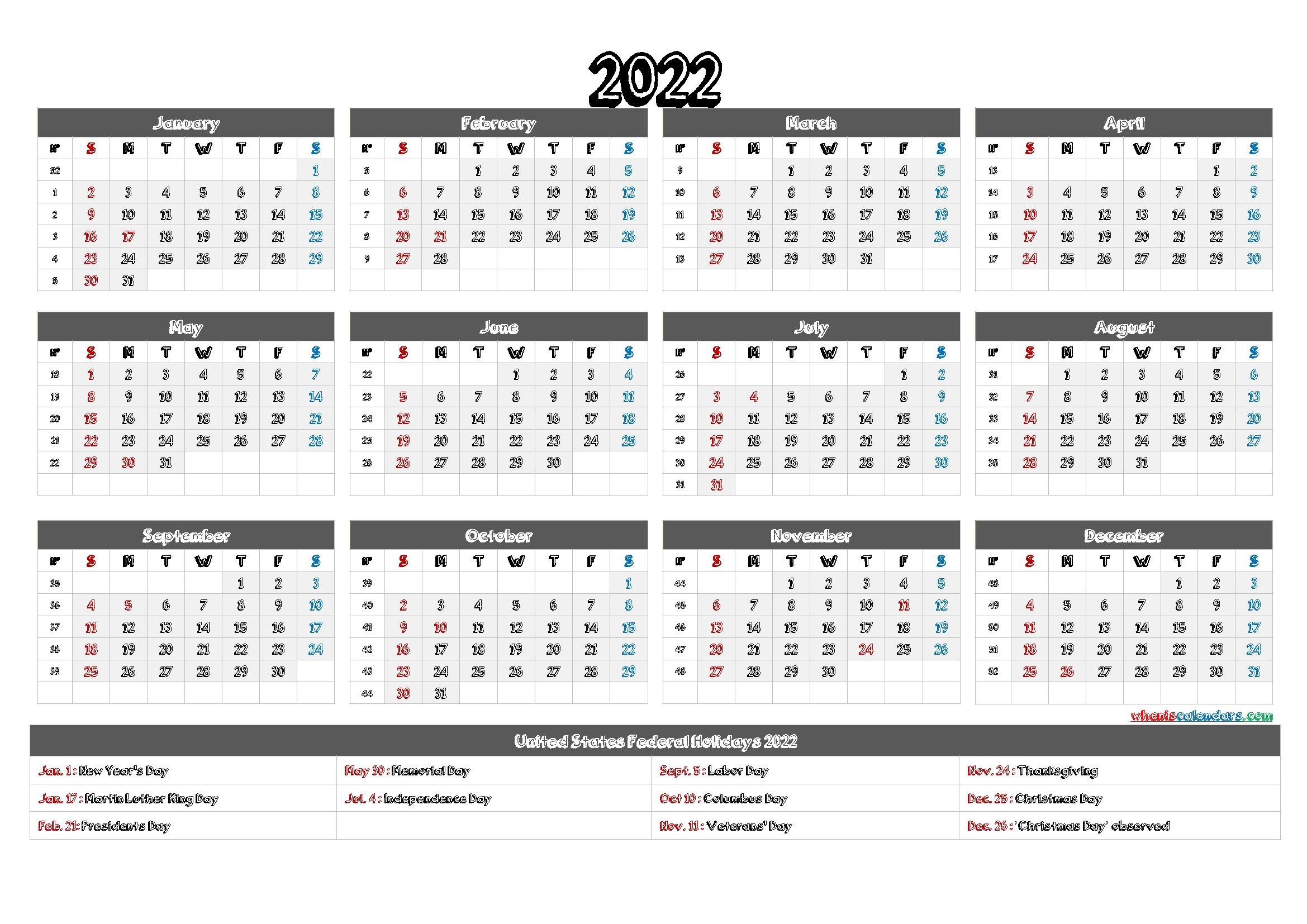 2022 calendar printable pdf download yearly template::Download 2022 Printable Calendar