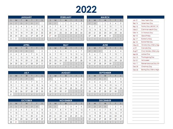 2022 canada annual calendar with holidays free printable templates::2022 Calendar Canada with Holidays Printable
