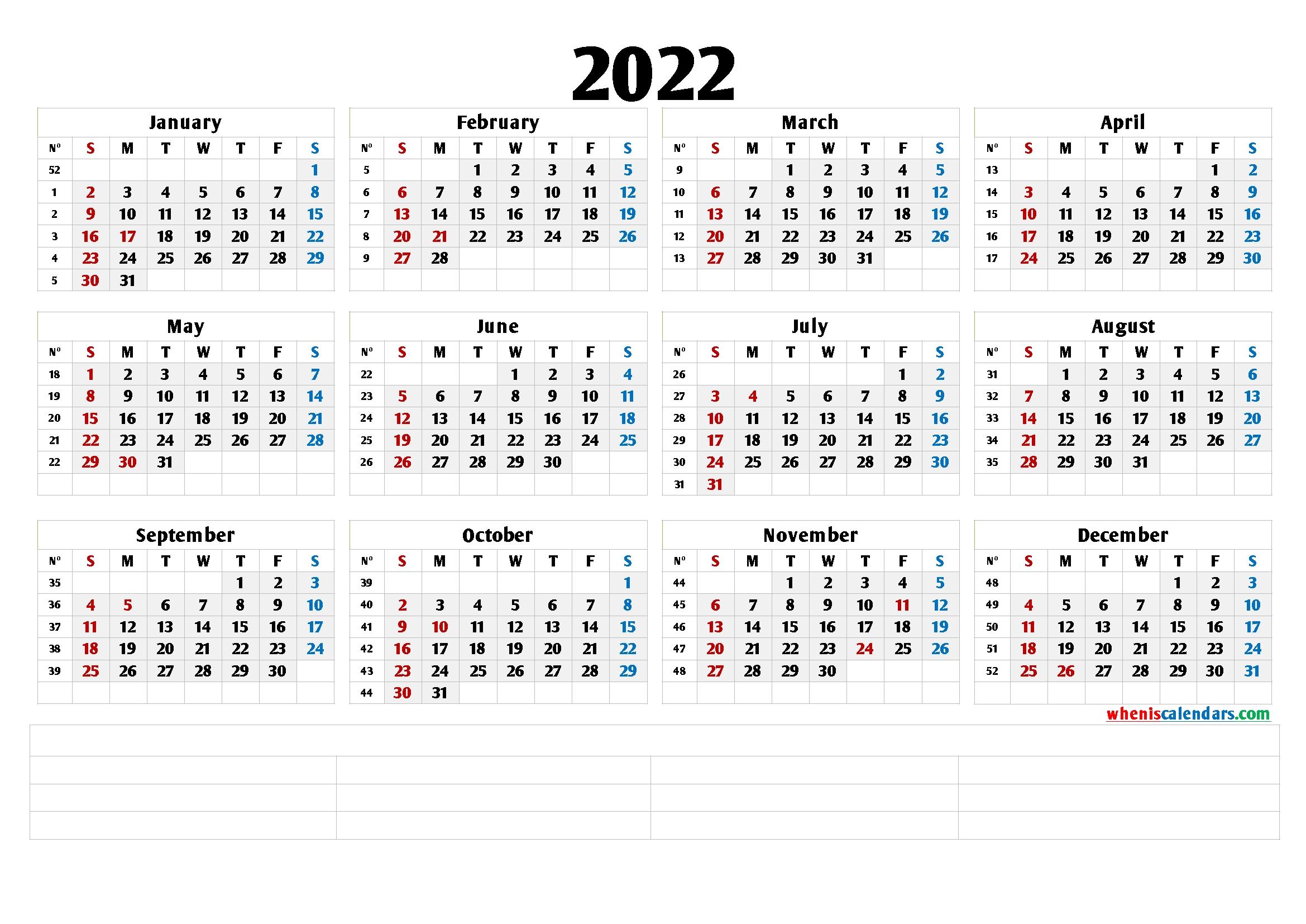 2022 free printable yearly calendar with week numbers 6 templates::Download 2022 Printable Calendar