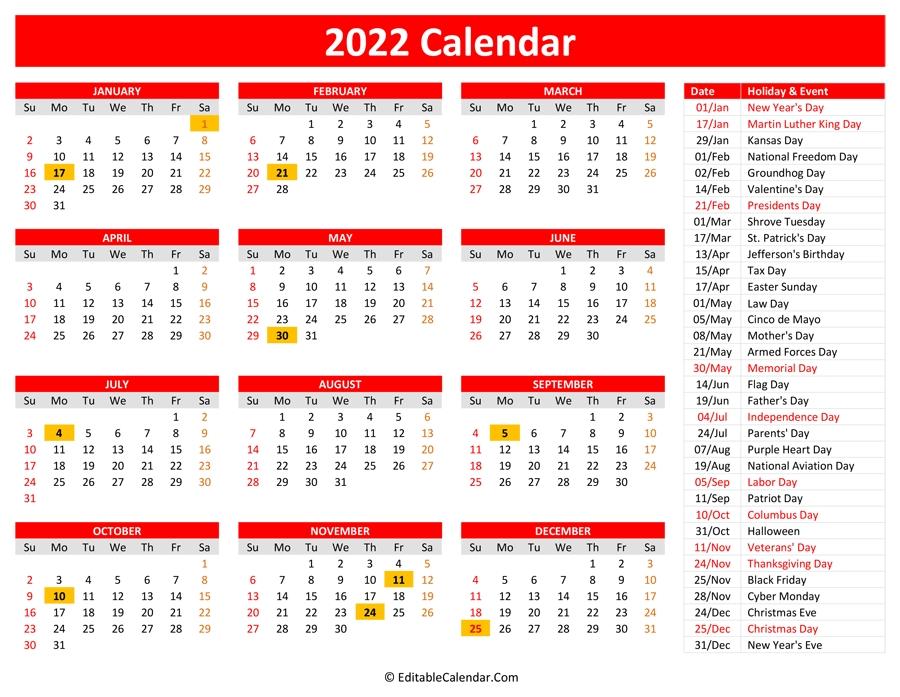 Download 2022 Printable Calendar