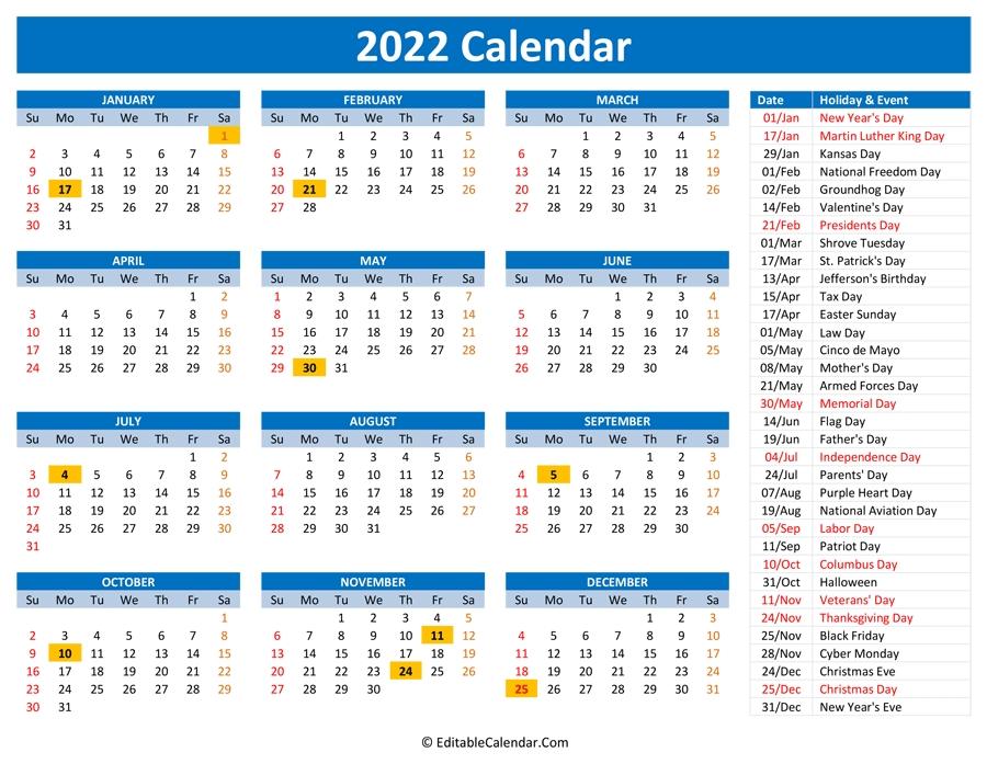2022 printable calendar with holidays::Download 2022 Printable Calendar