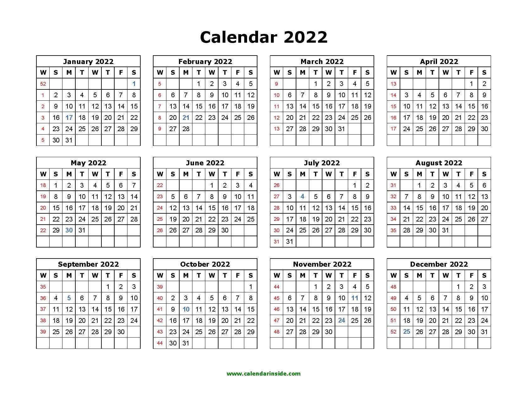 2022 printable calendar yearly templates pdf word excel::Download 2022 Printable Calendar