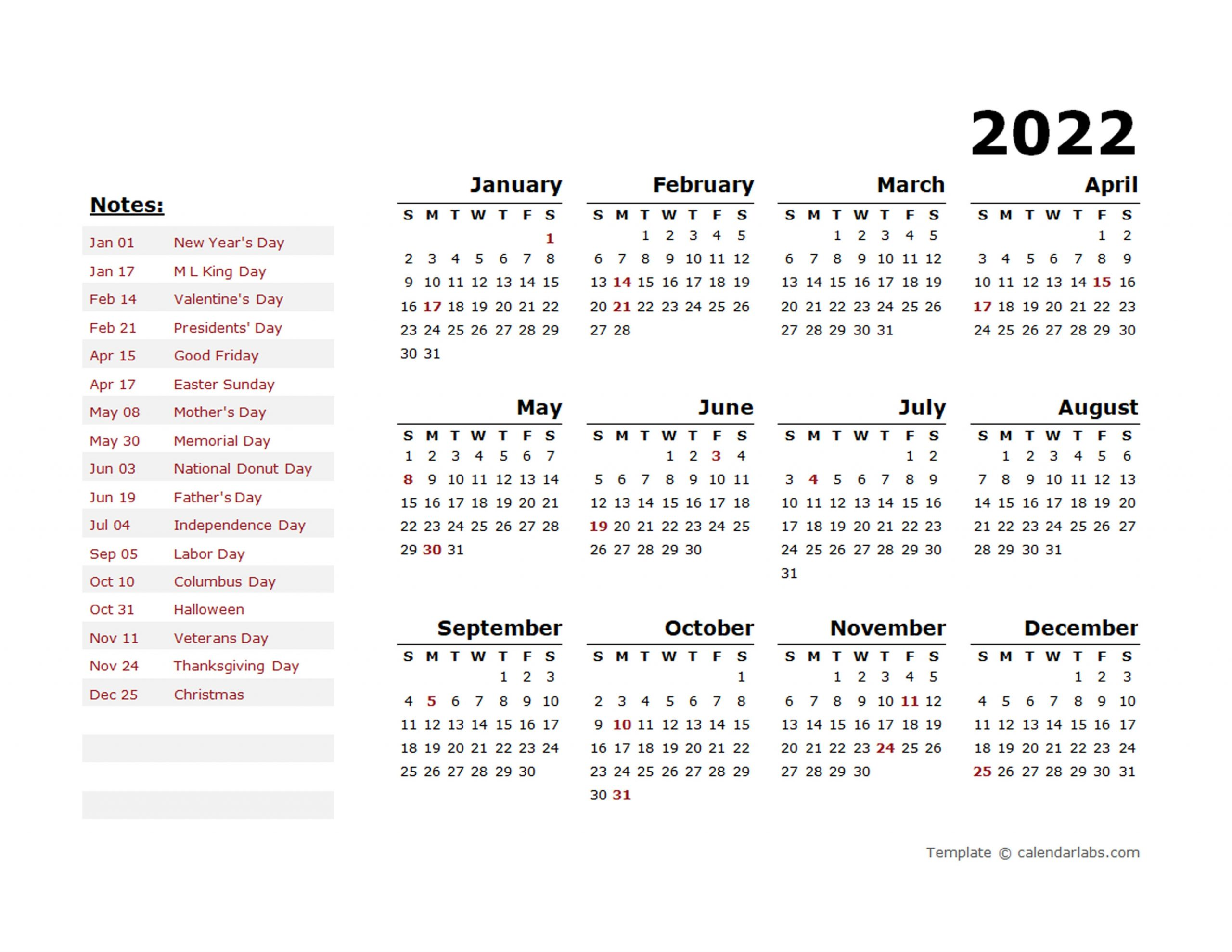 2022 year calendar template with us holidays free printable templates::Download 2022 Printable Calendar