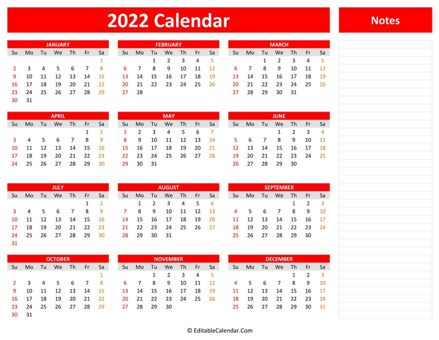 2022 yearly calendar with notes::Download 2022 Printable Calendar