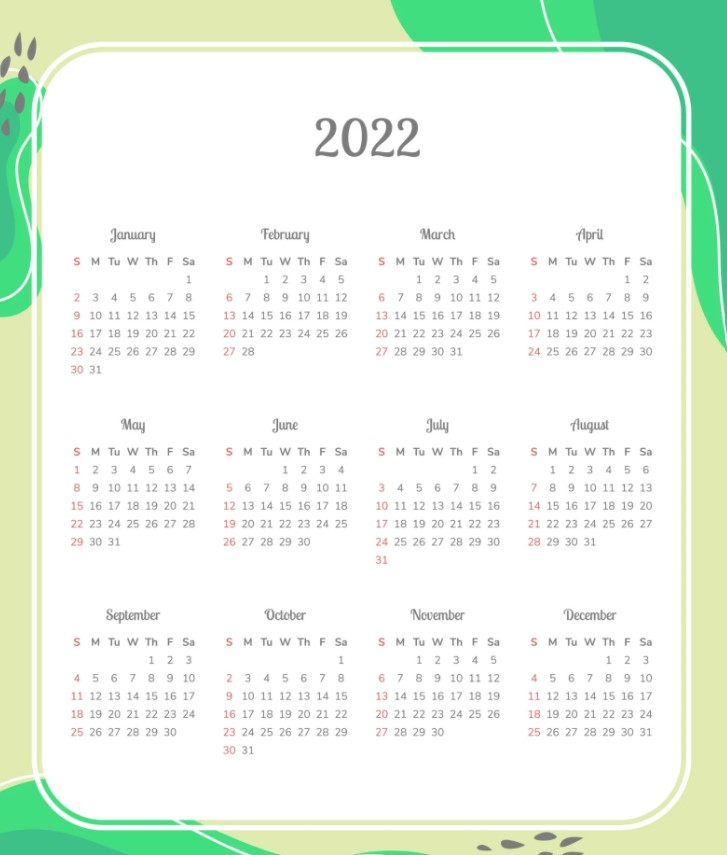 A3 2022 Printable One Page Cute