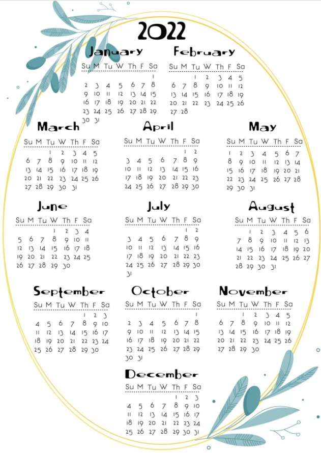 A3 2022 Printable One Page Floral