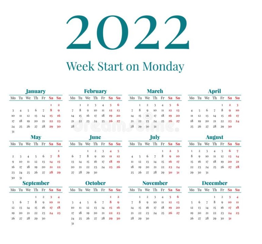 A3 2022 Printable One Page Green Simple