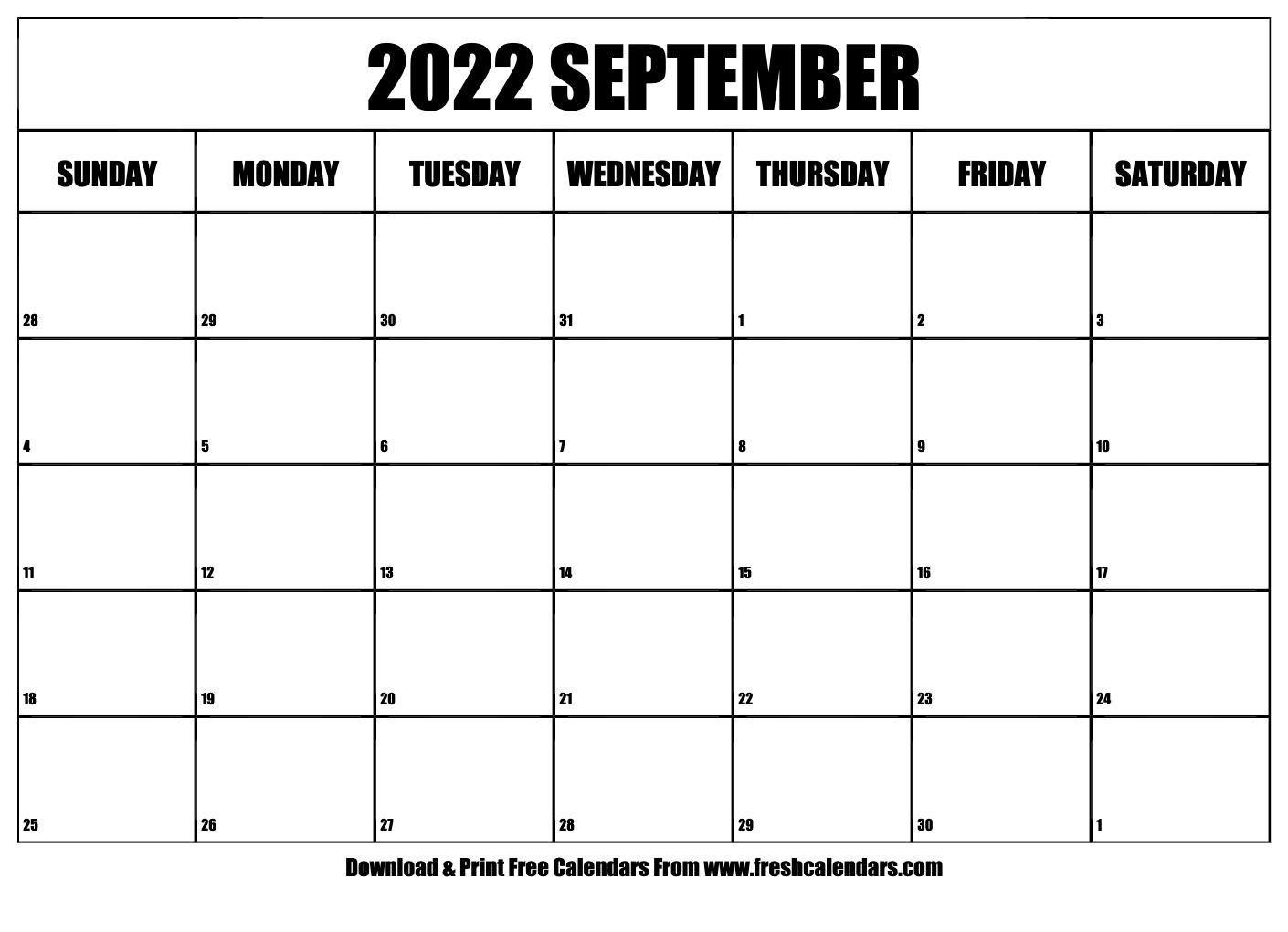 blank printable september 2022 calendars::September 2022 Cute Calendar Free