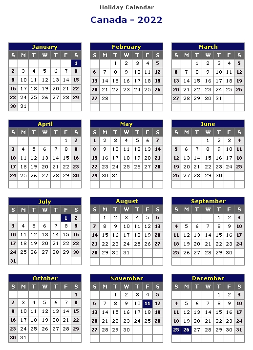 calendar canada 2022 printable holiday free::2022 Calendar Canada with Holidays Printable