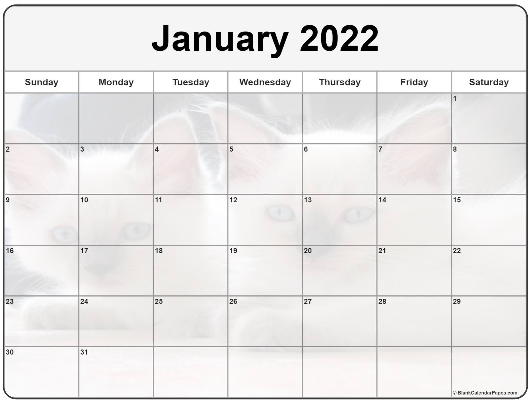 collection of january 2022 photo calendars with image filters::January 2022 Calendar Printable Free