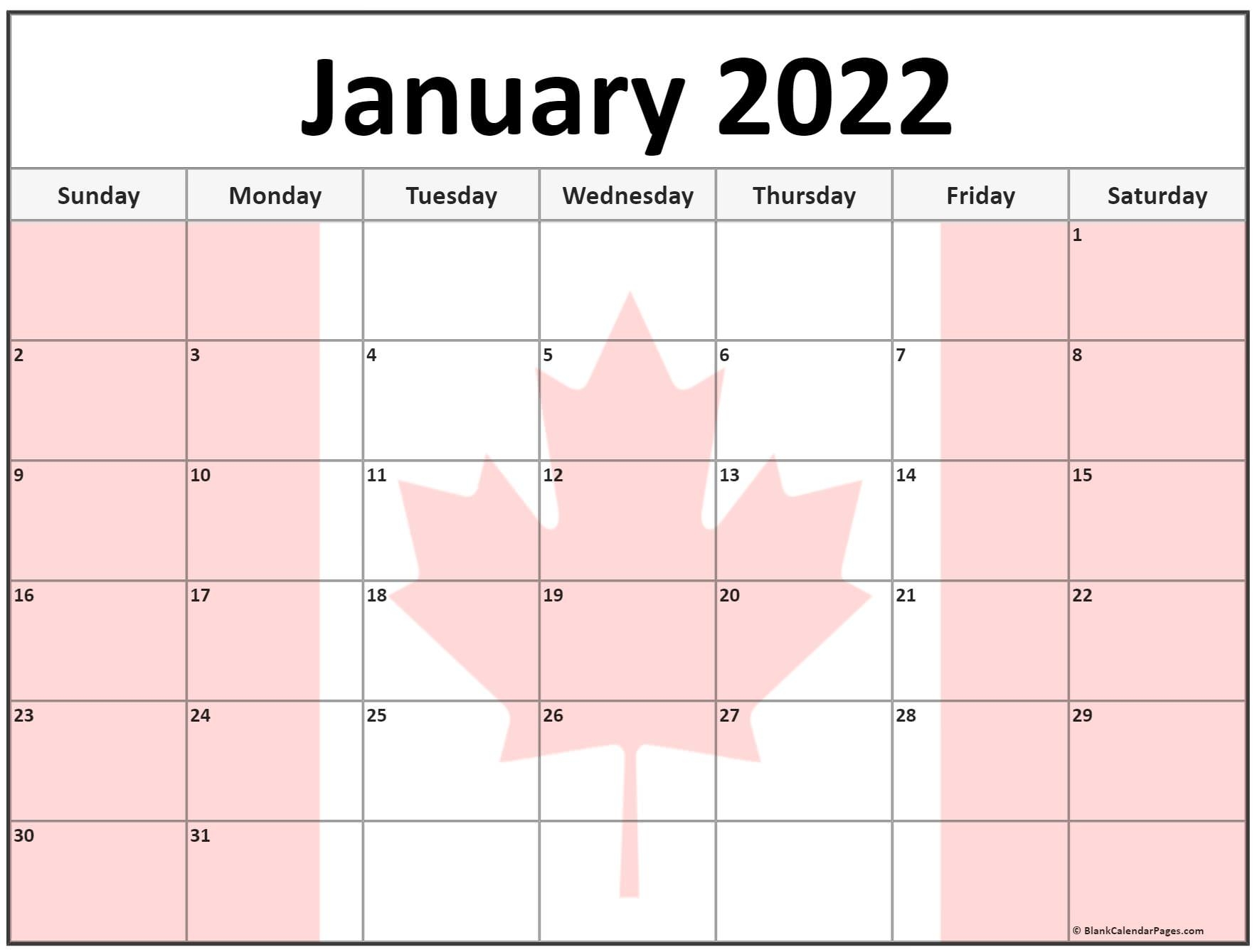 collection of january 2022 photo calendars with image filters::January 2022 calendar with holidays printable