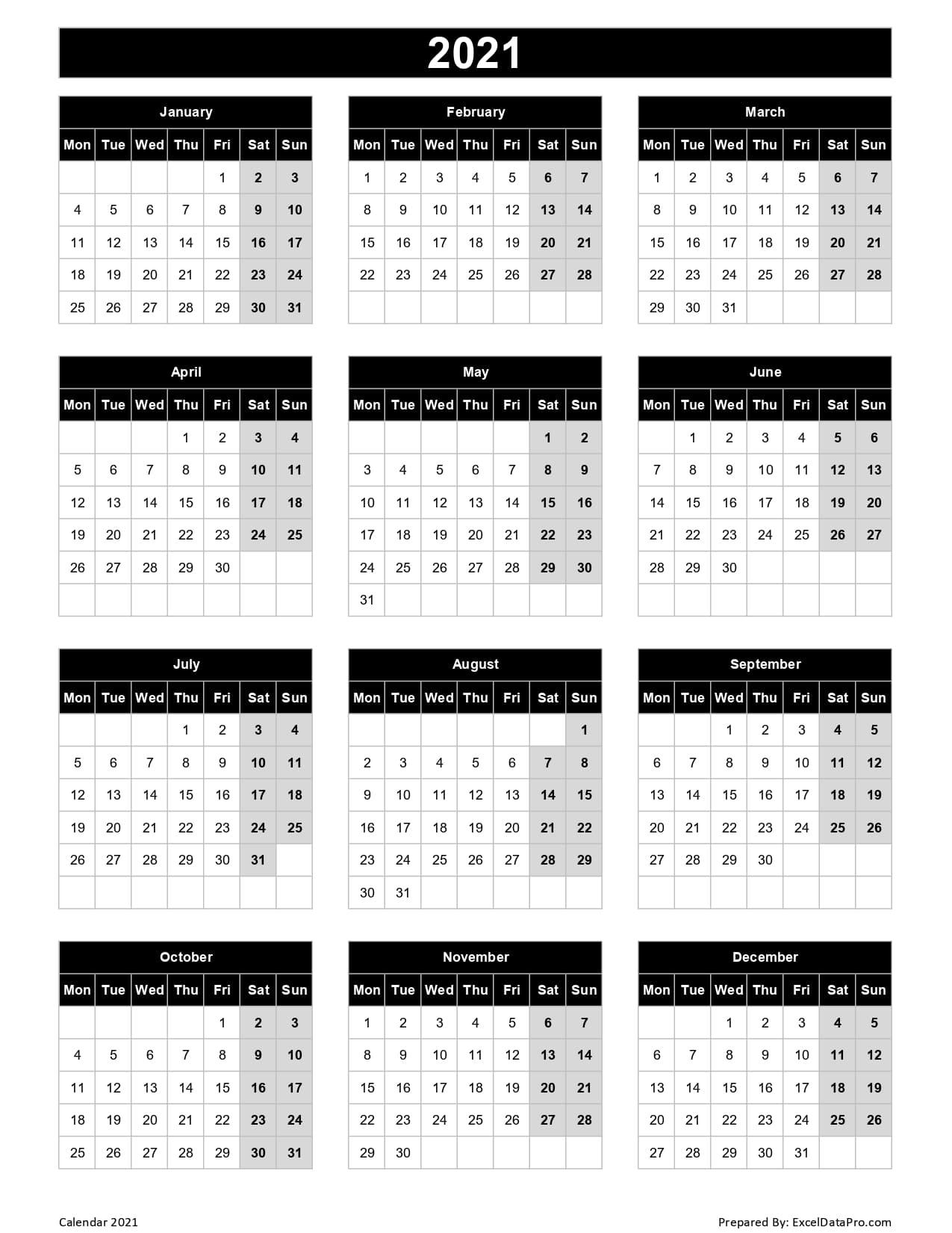 download 2021 yearly calendar mon start excel template exceldatapro::Printable 2021 Calendar By Week