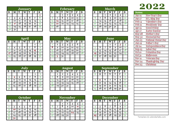 editable 2022 yearly calendar landscape free printable templates::Download 2022 Printable Calendar