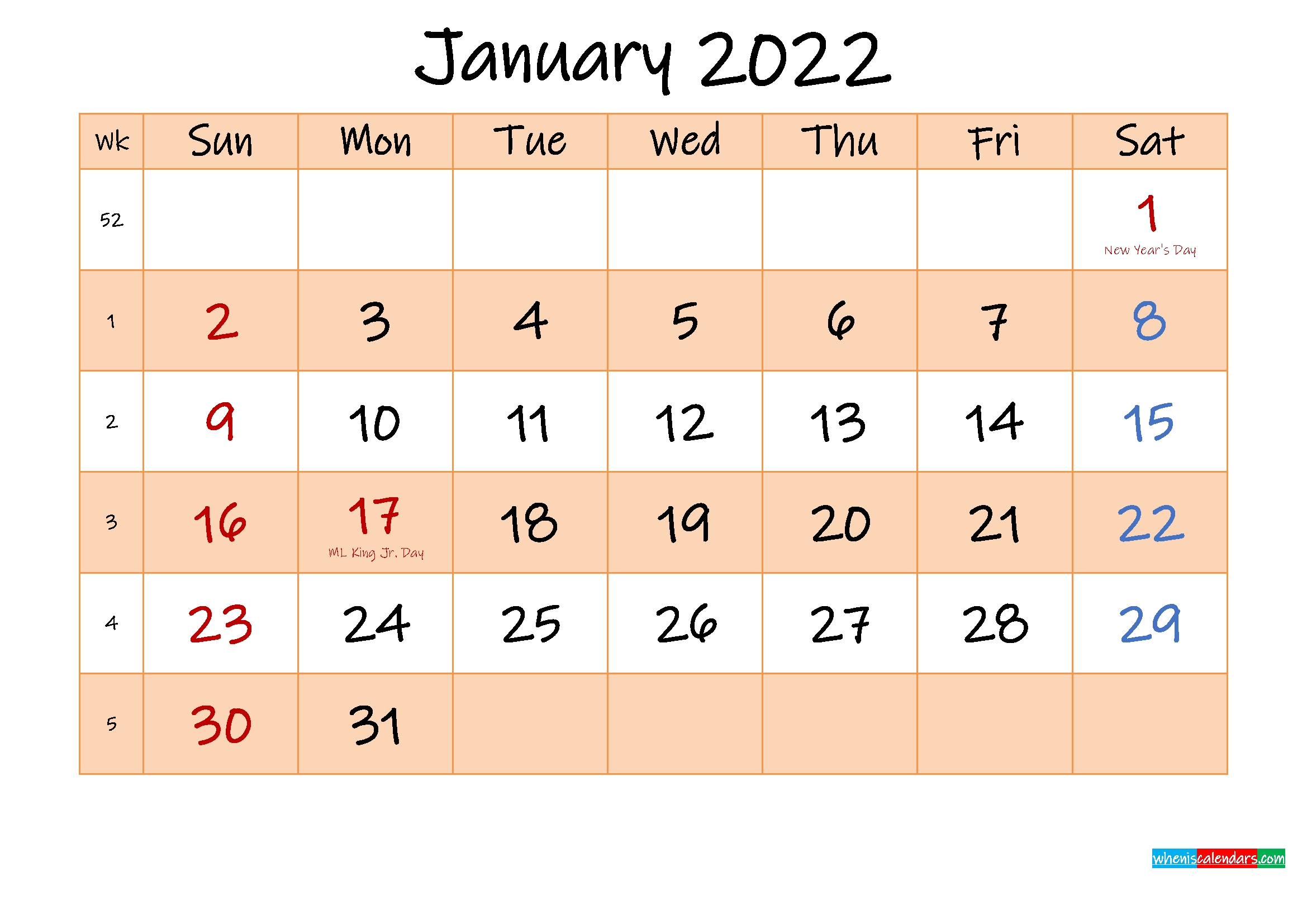 editable january 2022 calendar template noink22m481 free printable 2020 monthly calendar::January 2022 Calendar Canada