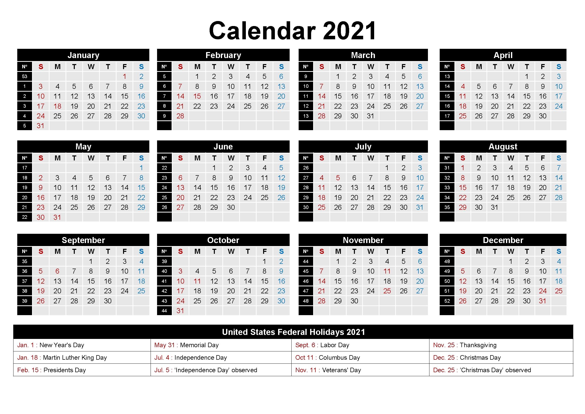 free editable 2021 calendar printable template::Printable 2021 Calendar By Week