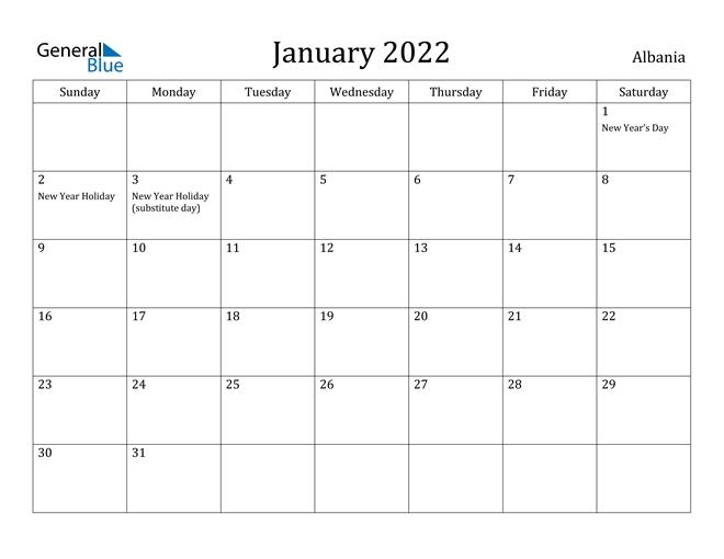 january 2022 calendar albania::January 2022 Calendar Canada