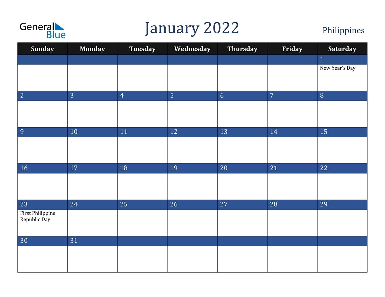 january 2022 calendar philippines::January 2022 Calendar Printable Free