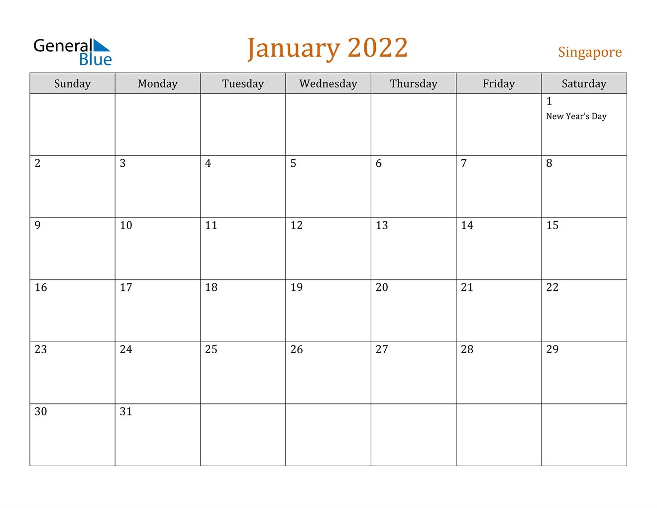 january 2022 calendar singapore::January 2022 Calendar Printable Free