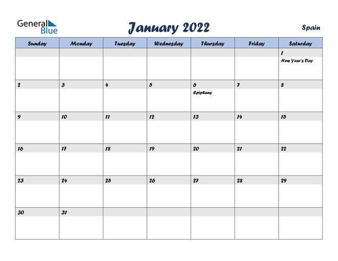 january 2022 calendar spain::January 2022 Calendar Canada