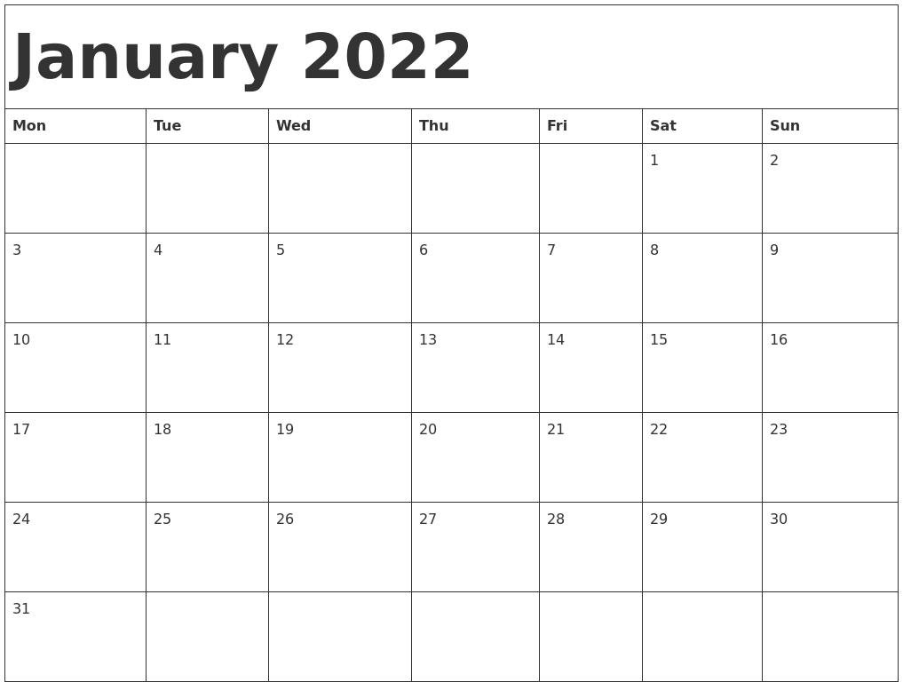 january 2022 calendar template::January 2022 Calendar Printable Free