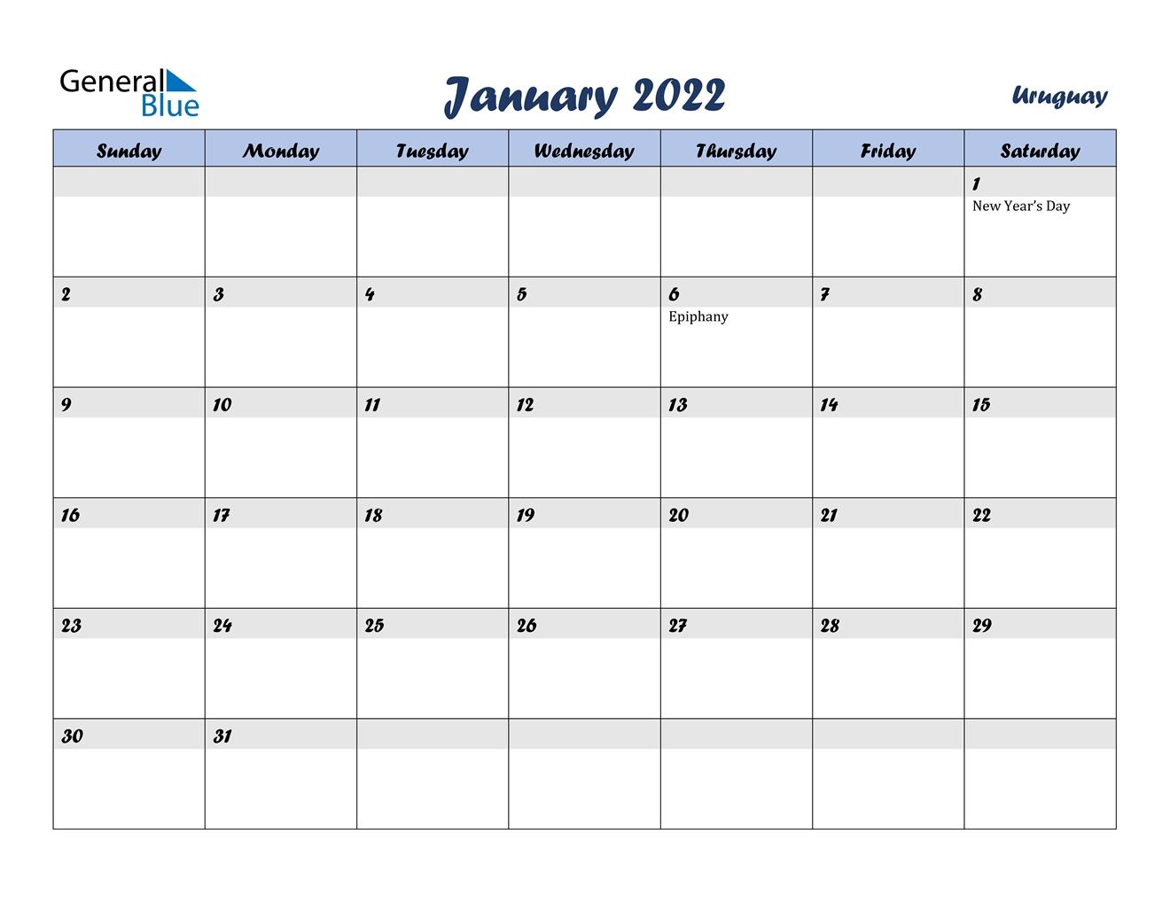 january 2022 calendar uruguay::January 2022 Calendar Printable Free