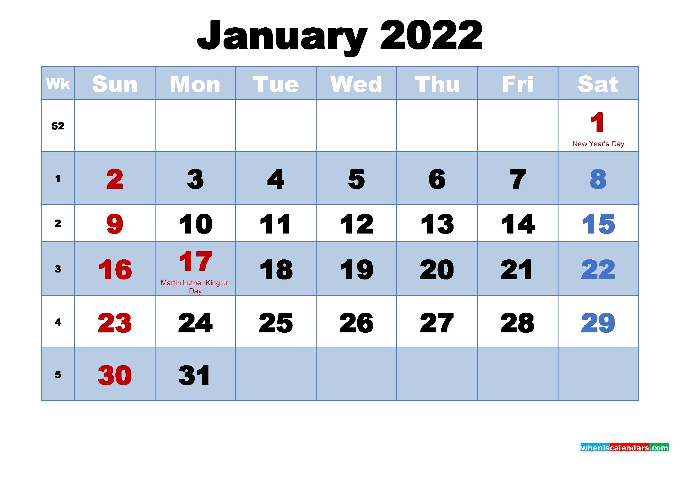 january 2022 calendar with holidays printable free printable 2020 calendar with holidays::January 2022 Calendar Printable Free