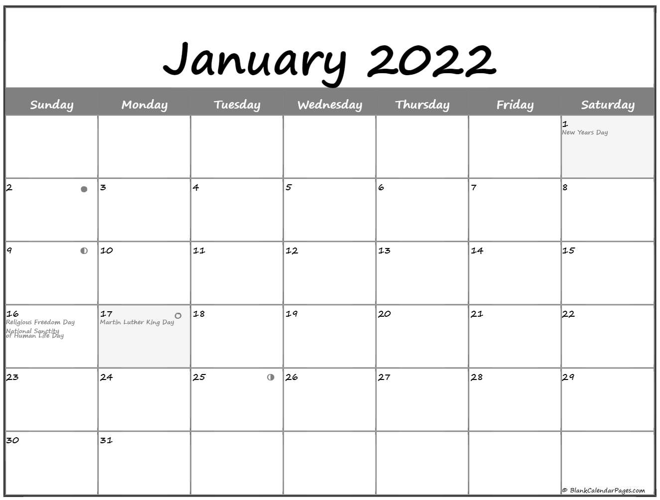 january 2022 lunar calendar moon phase calendar::January 2022 calendar with holidays printable