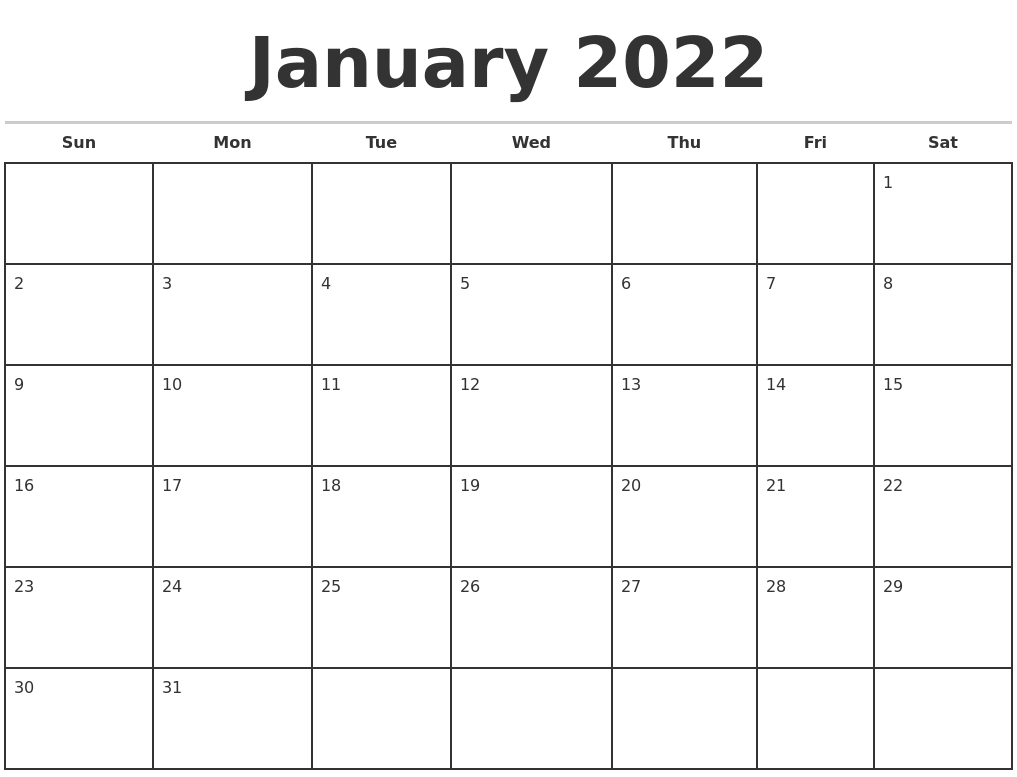 january 2022 monthly calendar template::January 2022 Calendar Printable Free