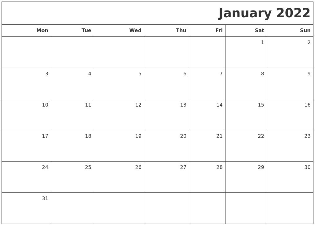 january 2022 printable blank calendar::January 2022 Calendar Printable Free
