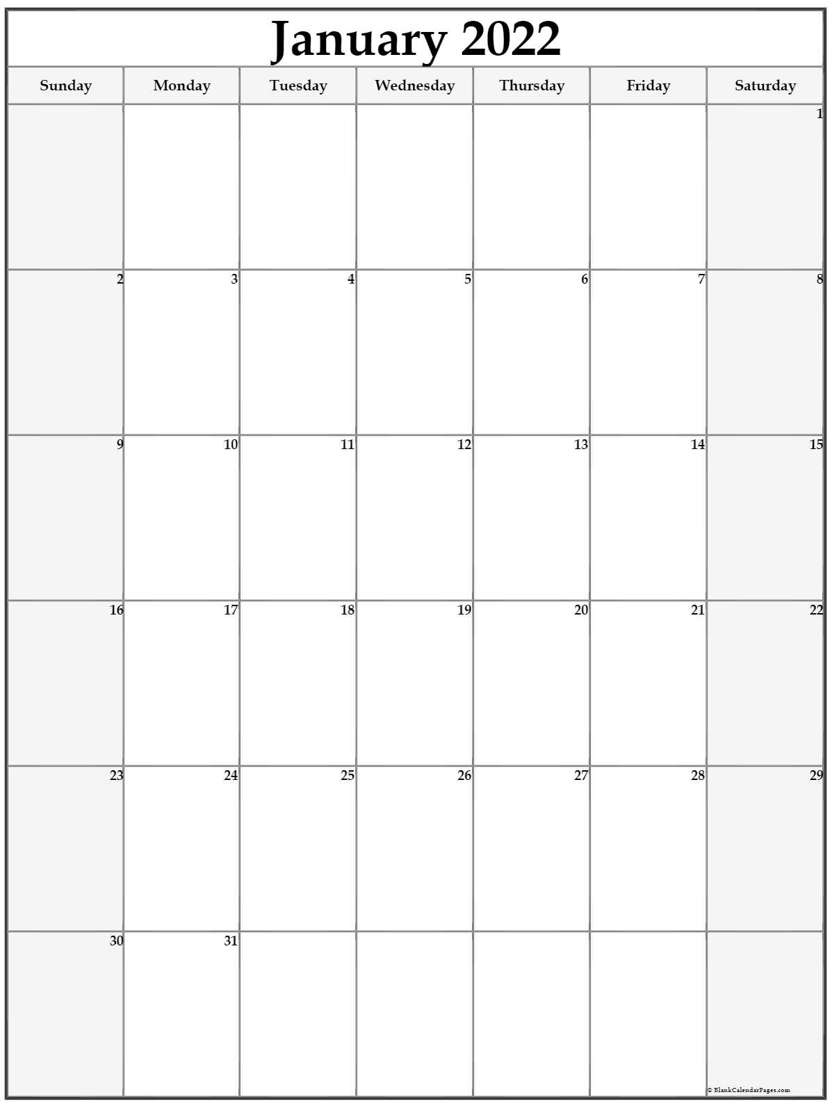 january 2022 vertical calendar portrait::January 2022 Calendar Printable Free