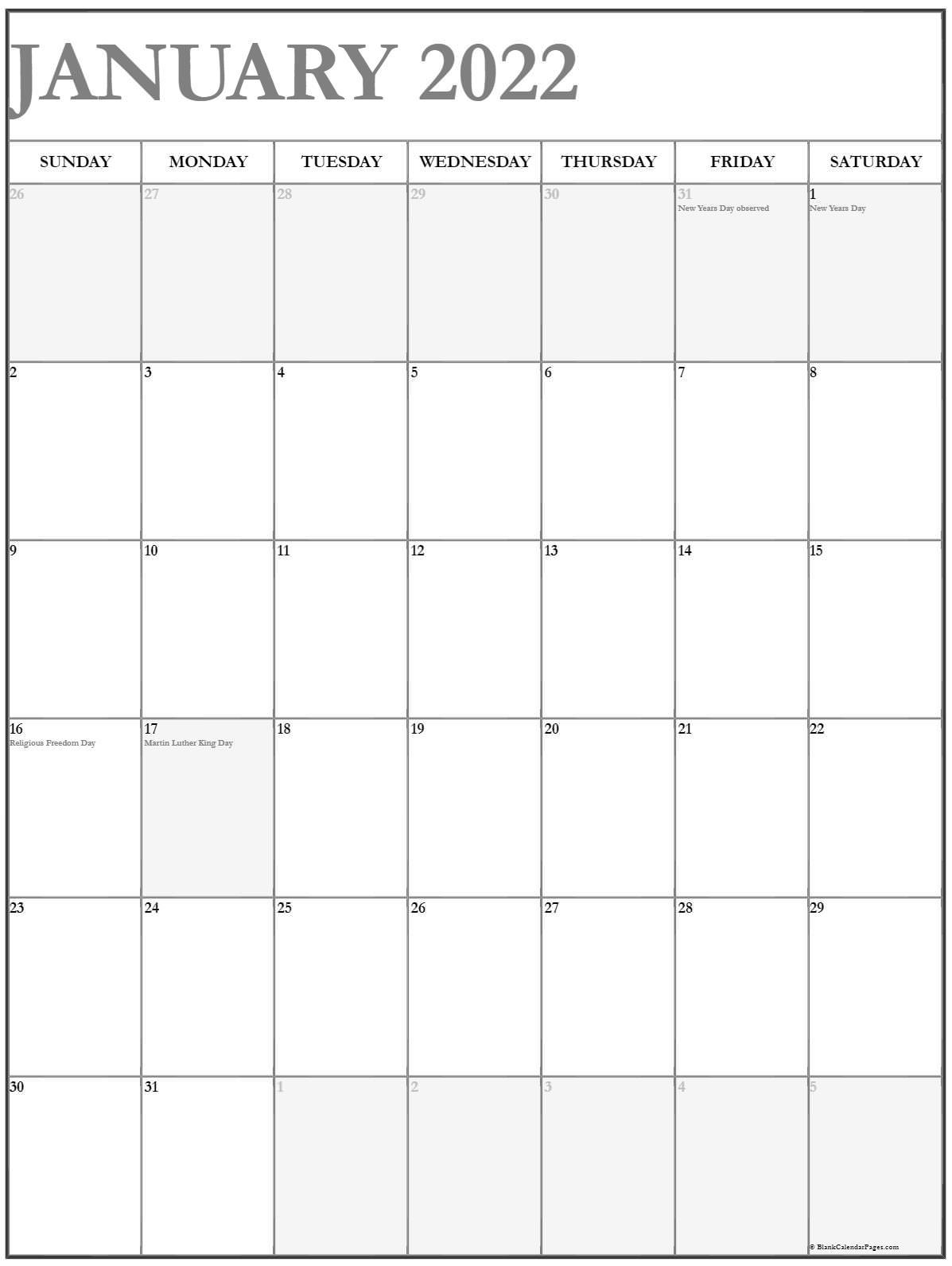 january 2022 vertical calendar portrait::January 2022 calendar with holidays printable