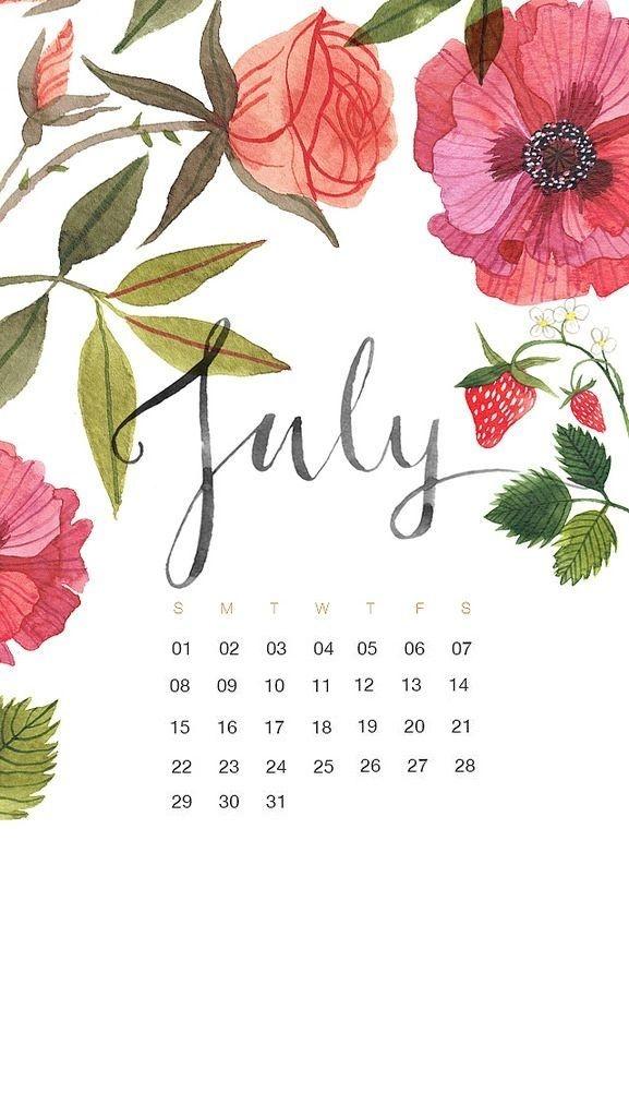 july 2022 iphone floral calendar wallpaper::July 2022 Calendar Wallpaper iPhone